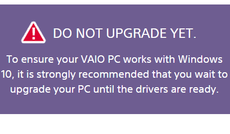 vaio do not update yet